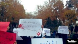 Students protesting during Student Day at University of Tehran, December 7, 2019