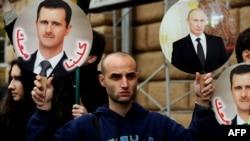 Vladimir Putin və Bashar al-Assad-in şəkilləri
