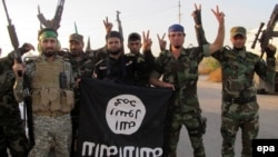 Members of an Iraqi Shi'ite militia flash the victory sign while holding an Islamic State flag captured in southern Iraq in October 2014.