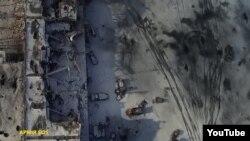 فرودگاه دونتسک پیش (بالا) و پس از حملات اخیر