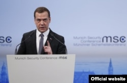 Russian Prime Minister Dmitry Medvedev at the 2016 Munich Security Conference