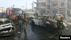 Pamje pas sulmit të sotëm në qytetin Homs në Siri
