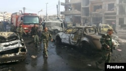 Хомс шаарындагы жардыруудан кийинки абал. 21-февраль, 2016-жыл