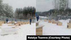 Новые будки для собак в приюте в Медвежьегорске