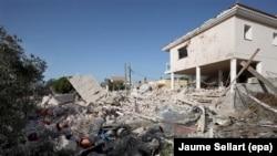 Руіны дому ў Альканары, дзе было знойдзена выбуховае рэчыва