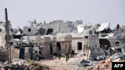 قسمتی از شهر حلب سوریه که در جریان جنگهای داخلی به ویرانه مبدل شدهاست.