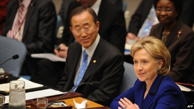 "U.S. Secretary of State Hillary Clinton (right) chaired the Security Council's ""Session on Women, Peace and Security"" on September 30 with UN Secretary-General Ban Ki-moon in attendance."
