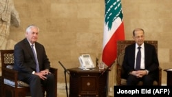 U.S. Secretary of State Rex Tillerson (L) meets with Lebanese President Michel Aoun at the presidential palace in Baadba on the outskirts of the capital Beirut, February 15, 2018