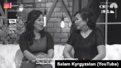 """""""Салам, Кыргызстан!"""" көрсөтүүсүнүн алып баруучулары Жайнагүл Атаханова жана Назира Жетигенова."""