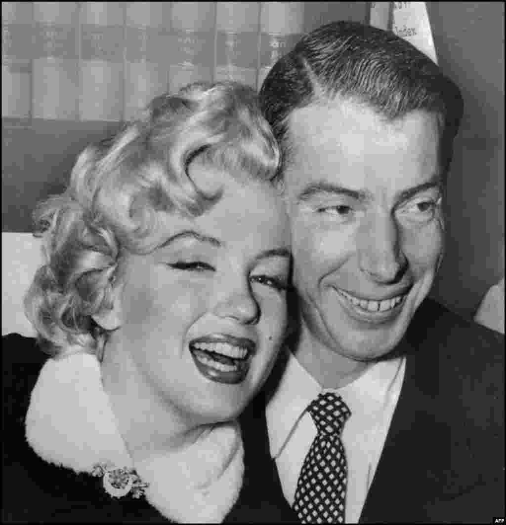 Monroe married policeman James Dougherty in 1942 when she was just 16. They divorced in 1946. She married her second husband, baseball star Joe DiMaggio (pictured here) in January 1954. They divorced nine months later.