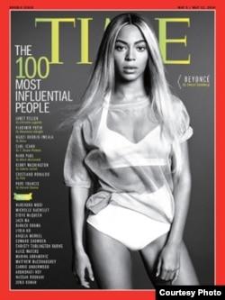 تصویر بیانسه، خواننده امریکایی که در لیست «صد چهره تاثیرگذار سال» تایم انتخاب شده بود، روی مجله تایم