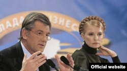 Yushchenko (left) and Tymoshenko