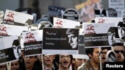 Шествие в Стамбуле по случаю 7-й годовщины убийства армяно-турецкого журналиста Гранта Динка, 19 января 2014 г.