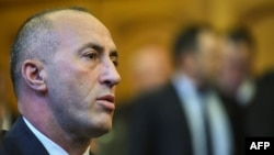 Kosovo's former Prime Minister Ramush Haradinaj at his court hearing on April 27. (file photo)