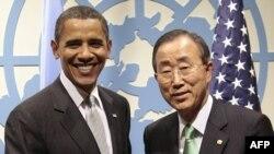 АКШ президенти Барак Обама БУУнун баш катчысы Пан Ги Мун менен. 23-сентябрь, 2009-ж.