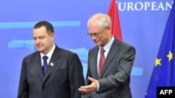 EU Council President Herman Van Rompuy (right) welcomes Serbian Prime Minister Ivica Dacic before their working session at EU headquarters in Brussels on September 4.