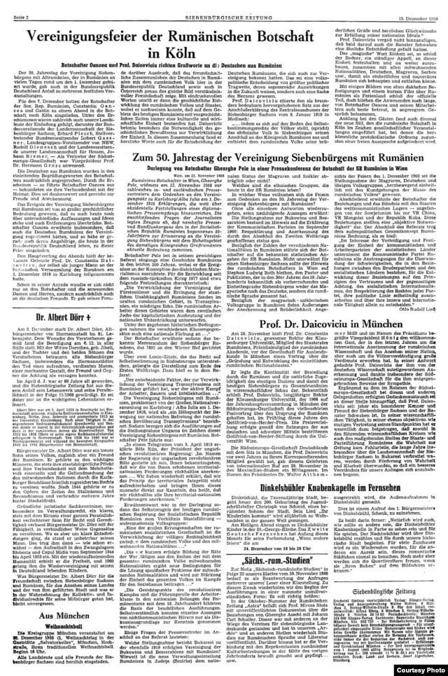 Articol apărut în Siebenbürgische Zeitung, 15.12.1968