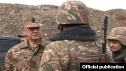 Nagorno-Karabakh - Armenian Defense Minister Seyran Ohanian visits the Line of Contact with Azerbaijan, 11Feb2016.