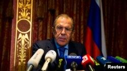 Ministrul rus de externer Serghei Lavrov la o conferință de presă, Berlin 18 august 2014.
