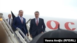 Russian Foreign Minister Sergei Lavrov was met by Serbia's Foreign Minister Ivica Dacic in Belgrade on June 16.