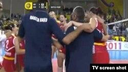 """Первые мгновения радости волейболисток """"Рабита"""" победе в Катаре, Доха, 14 октября 2011"""