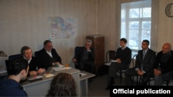 Nagorno Karabakh - OSCE's Minsk Group Co-Chairs James Warlick (F from L) and Jacques Fore (S from L) meet with Nagorno Karabakh's civil society representatives in Stepanakert,18Dec2013