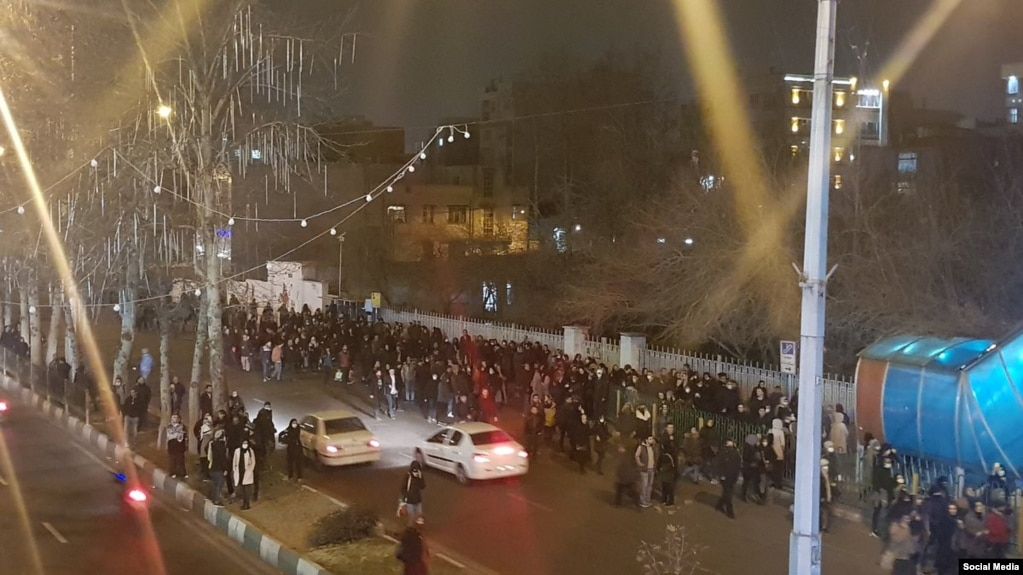 Crowds gathering in front of Ostad Moein St in Tehran in protest against Khamenei for deceiving the public about plane crash. January 12, 2020.