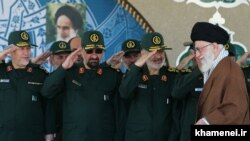 Iran' Supreme leader Ali Khamenei and IRGC's top commanders including Hossein Salami, Mohsen Rezaei and Yahya Rahim Safavi, undated.