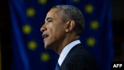 Presidenti amerikan, Barack Obama, gjatë vizitës së sotme në qytetin gjerman të Hanoverit, 25 prill 2016