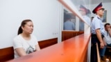 Ethnic-Kazakh Chinese citizen Sayragul Sauytbay in court in Zharkent earlier this month.
