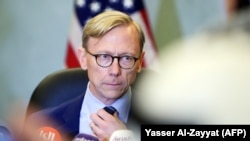 "Kuwait -- Brian Hook, the US Special Representative for Iran, looks on during a press conference in Kuwait City on June 23, 2019. - The US special envoy for Iran urged ""all nations to use their diplomatic effort to urge Iran to de-escalate and meet diplom"