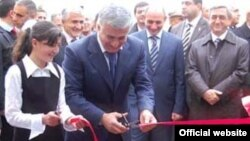 Armenia -- Businessman Murad Muradian inaugurates a newly built school in his native Tsovasar village in President Serzh Sarkisian's presence, 5November 2009.