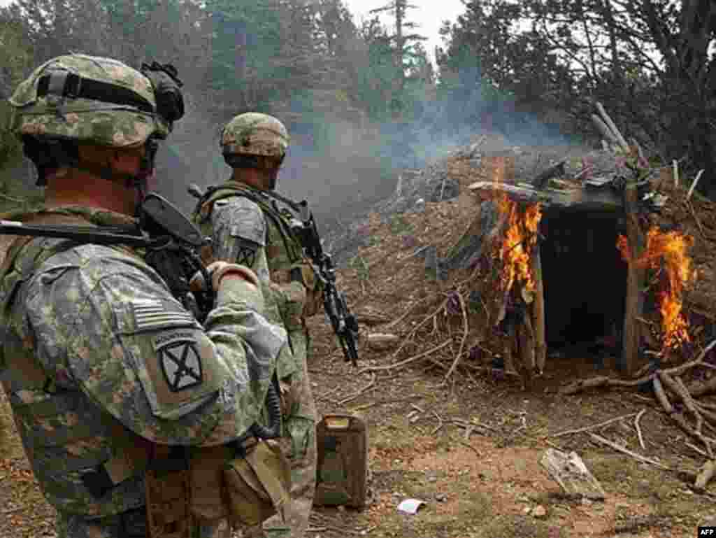U.S. soldiers burn a suspected Taliban shelter on the Afghan-Pakistani border in March 2007 - There are fears that operations near the tense border could bring NATO and Pakistan into direct conflict, either through third-party provocation or accidental fire. Skirmishes in the area in May 2007 reportedly killed at least a dozen people; a U.S. soldier who was escorting a delegation to negotiate an end to that violence died after he was shot by a man dressed in a Pakistani Frontier Corps uniform.