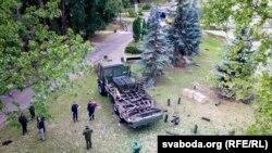 Салютная ўстаноўка, якая выбухнула падчас салюту 3 ліпеня ў Менску, фота з дрона