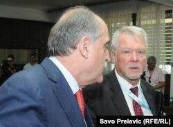 Šef crnogorske diplomatije Milan Roćen i šef Delegacije EU u Crnoj Gori Leopold Maurer, 2011.