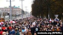 Супольны марш пэнсіянэраў і студэнтаў. Менск, 26 кастрычніка 2020 г.