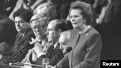 U.K. Prime Minister Margaret Thatcher gives the final address of the Conservative Convention in Brighton in October 1988.
