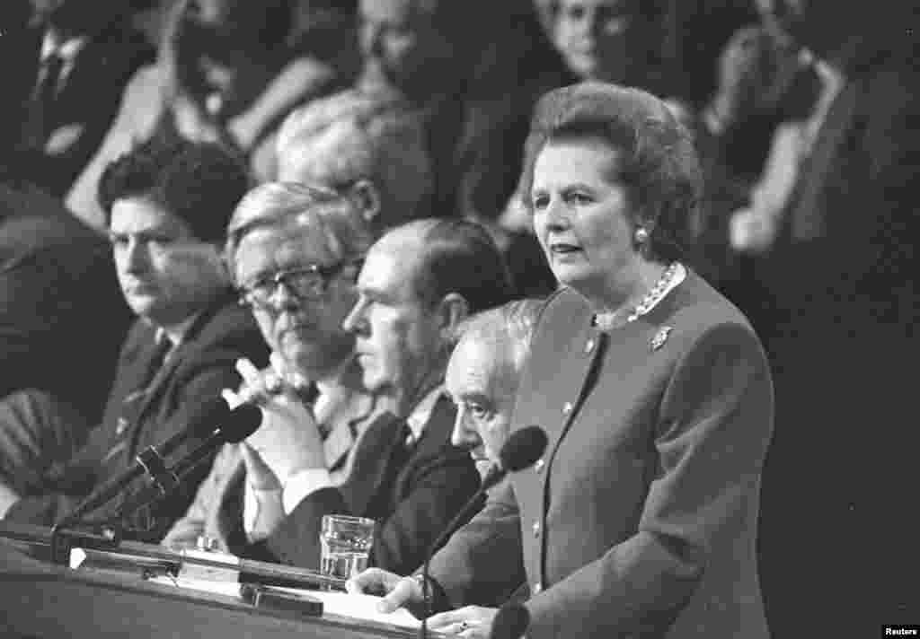 Margaret Thatcher delivers the final address of the Conservative Party Convention in Brighton in October 1988.