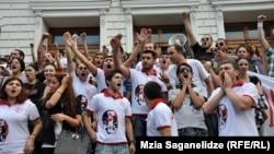 Акция протеста студентов против тюремных пыток. Тбилиси, 26 сентября 2012 года.