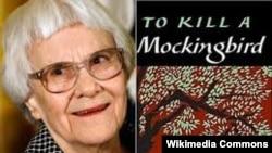 "Harper Lee și coperta volumului ""To Kill a Mockingbird"""