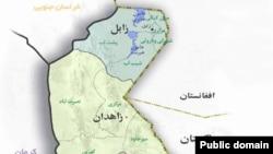 Иранның Ауғанстанмен және Пәкістанмен шекаралас Систан-Белужистан уәлаятының картасы.