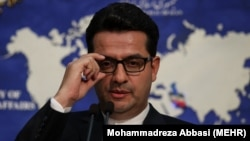 FILE - Abbas Mousavi, the spokesman for Iran's Foreign Ministry, gives a press conference in the capital Tehran on May 28, 2019.