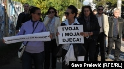 Protestna šetnja u Podgorici zbog infekcije beba u bolnici u Bijelom Polju, 17. novembar 2014