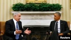 Сустрэча паміж Баракам Абамам (справа) і Бэньямінам Нэтаньягу ў Белым доме 1 кастрычніка 2014 году.