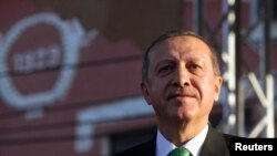 Turkish Prime Minister Recep Tayyip Erdogan in Prizren, some 90 kilometers from Kosovo's capital Pristina.