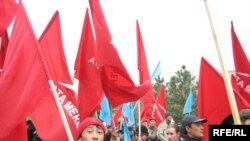 Opposition supporters rally in the Kyrgyz capital, Bishkek.