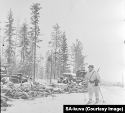 Piles of Soviet corpses lay in the snow after a Finnish attack.