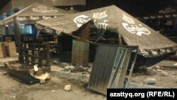 Some of the damage outside the Almaty shopping center where violence erupted on August 31 after a Kairat Nurtas concert was called off.