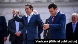 Скопје- премиерите на Северна Македонија и на Грција Зоран Заев и Алексис Ципрас, 02.04.2019
