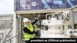 """პრეზიდენტი ილჰამ ალიევი ხსნის """"სამხრეთის გაზის დერეფანს."""" 2018 წლის 29 მაისი"""